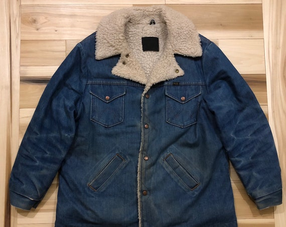 1970s Wrangler Jacket Wrange Sherpa Lined Jean Jacket Denim Made in USA