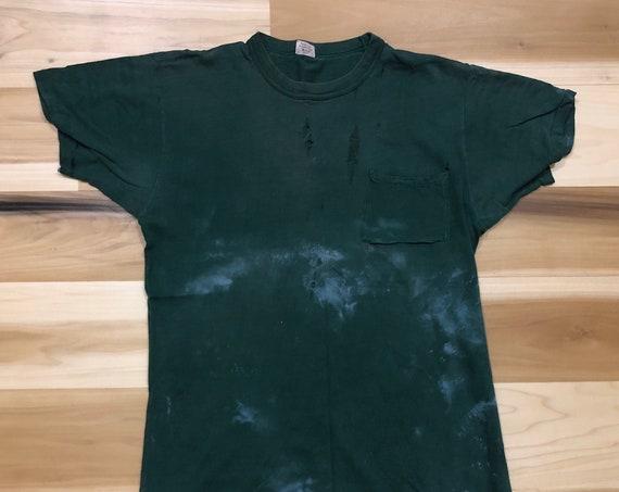 1960s Pocket tee BVD Bleach Splatter Distressed T shirt