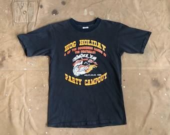 80s Biker tee Hawg Labor Day Cookeness Bands in Northeast