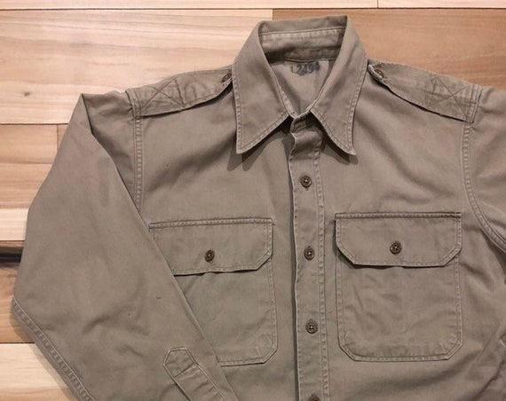 50s Khaki Shirt 8.2oz Cotton Korean War