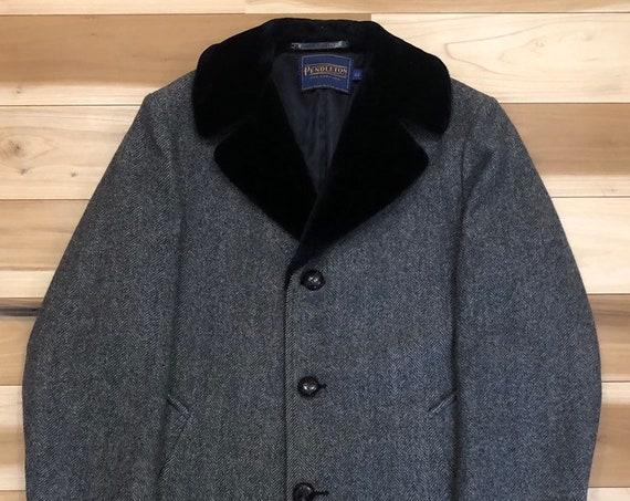 Pendleton Car Coat Herringbone Wool faux fur