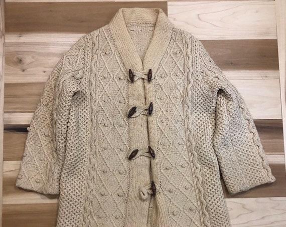 Hand Knit Cardigan Fishermans Sweater Toggle
