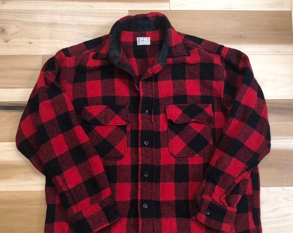 1950s Penneys Towncraft Wool Shirt Buffalo Plaid