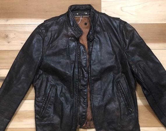 70s Leather Motorcycle Jacket Cafe Racer Steerhide