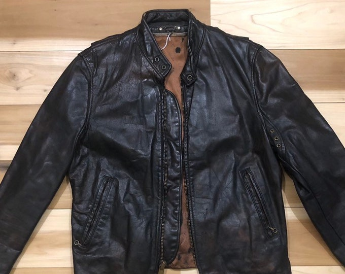 1970s Leather Motorcycle Jacket Cafe racer