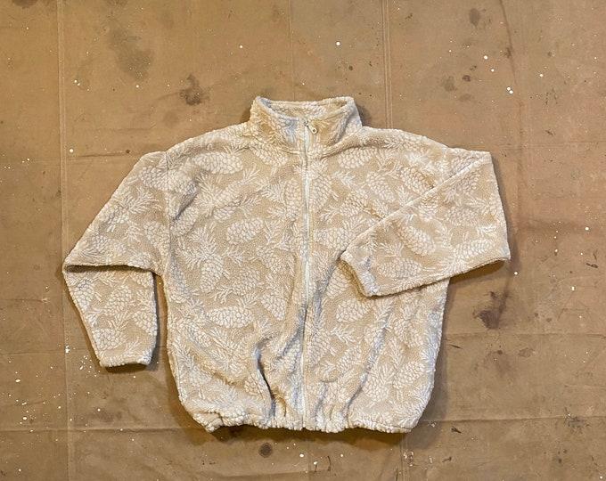 90s Deep Pile Fleece Jacket All Over Print