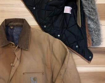 80s Carhartt Chore Coat Blanket Lined w/ hood