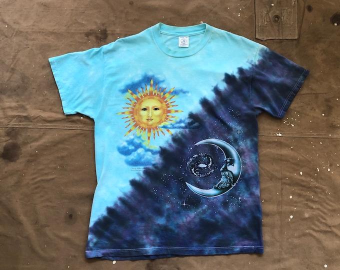 1995 Sun & Moon Tie-Dye T-Shirt Tammy Schatz Not Fade Away Graphics
