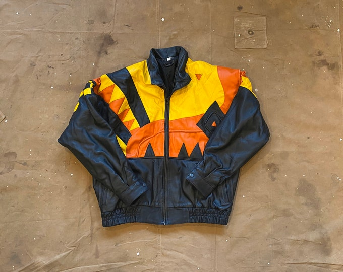 90s Leather Jacket Multi Color Oversized
