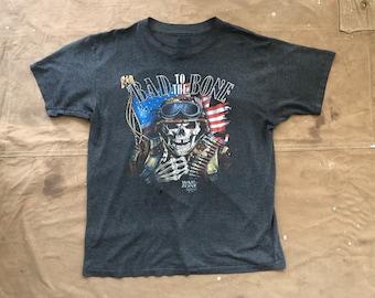 1991 3D Emblem Harley Davidson T-shirt Bad to the Bone paper thin