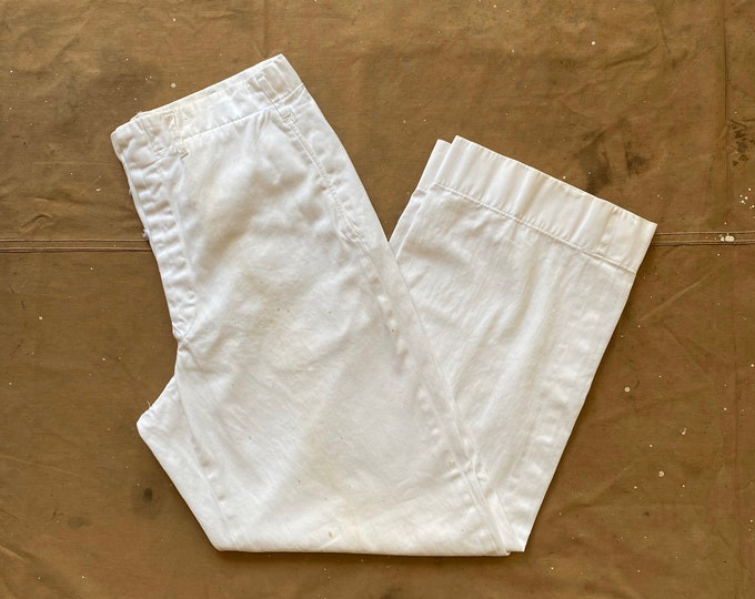 1930s / 40s Trousers White Twill Zinc Button Fly