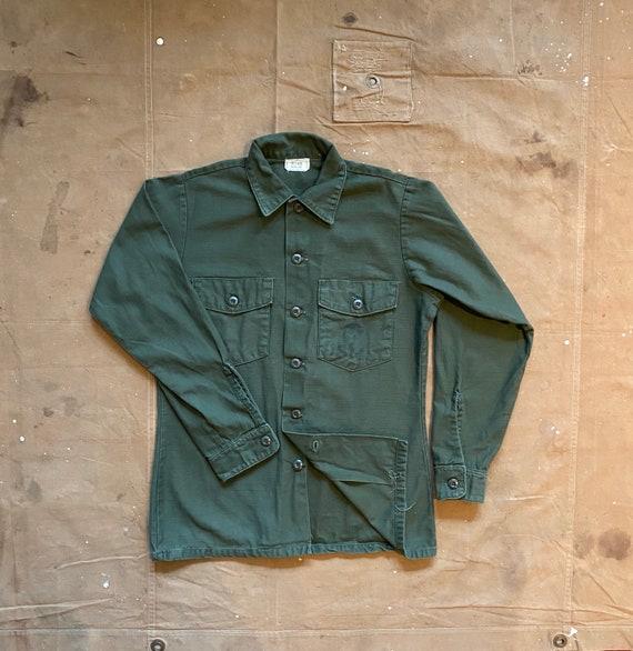 70s USMC Sateen OG 107 Shirt Vietnam Stencil
