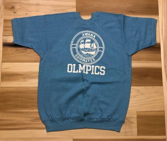 70s Champion Crewneck Blue Bar Short Sleeve Sweatshirt Awana Shipmates Olmpics Made in USA  NOS