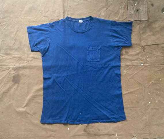 1960s / 70s Pocket tee/ Square pocket Derby All cotton faded Blue