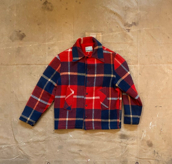 60s Wool Shirt jacket Maine Guide Plaid lined