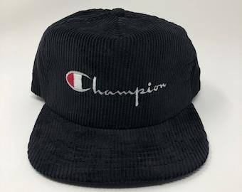 80s New Era Champion Snapback Corduroy Hat Script deadstock
