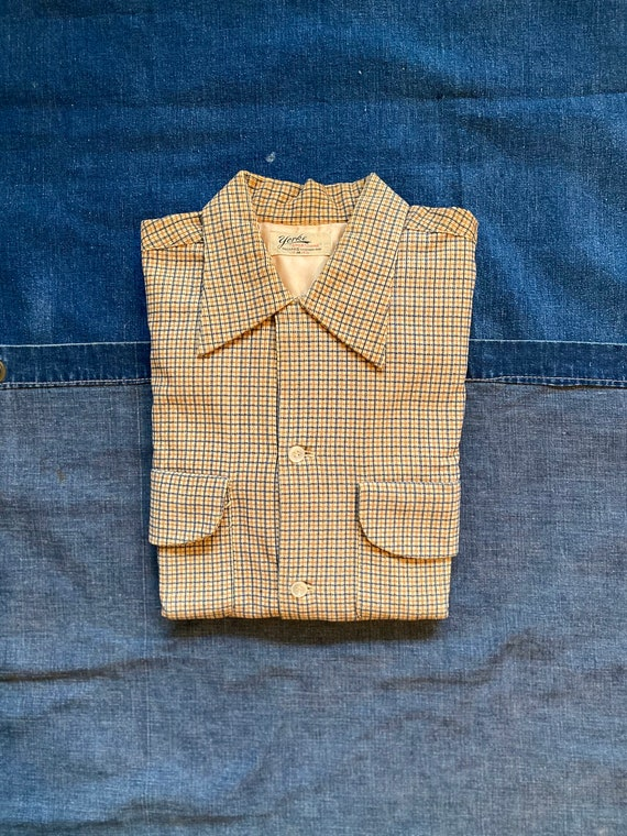"1940s Loop Collar Corduroy Shirt Yellow York ""Spor"