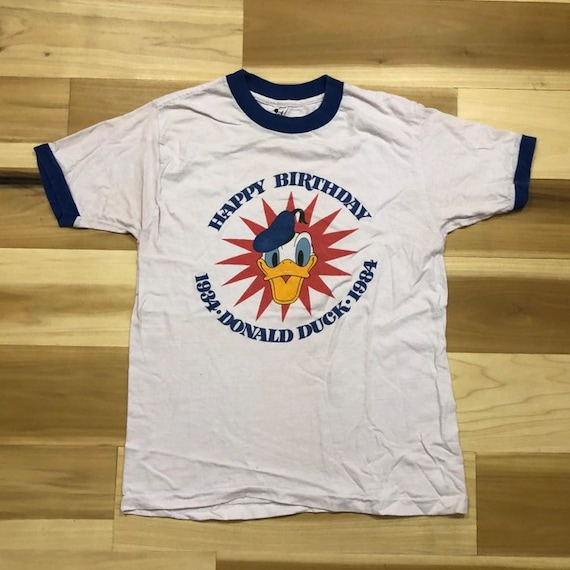 1984 Donald Duck T-shirt Ringer Birthday