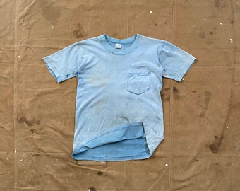 Faded Blue '70s Pocket Tee distressed Penneys
