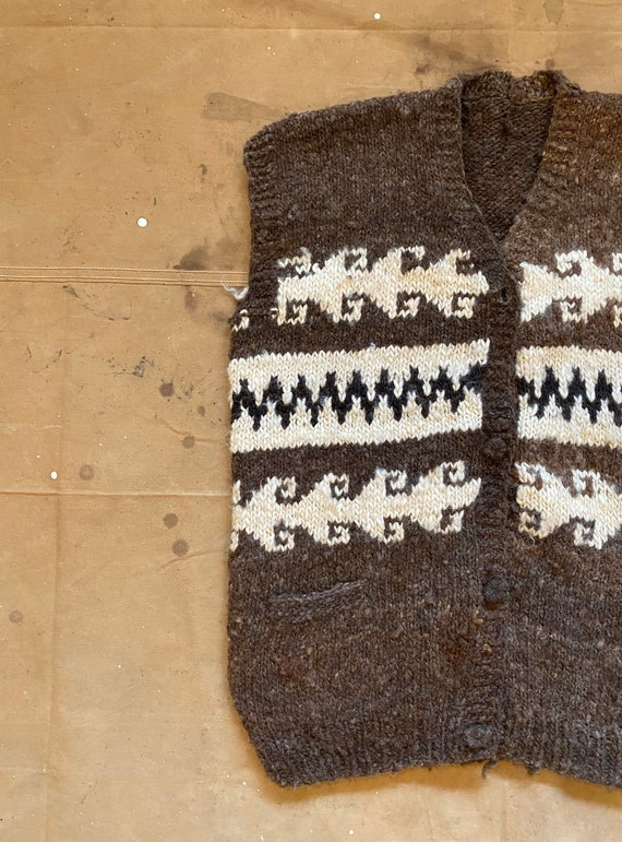 Hand Knit Wool Sweater Vest - image 2