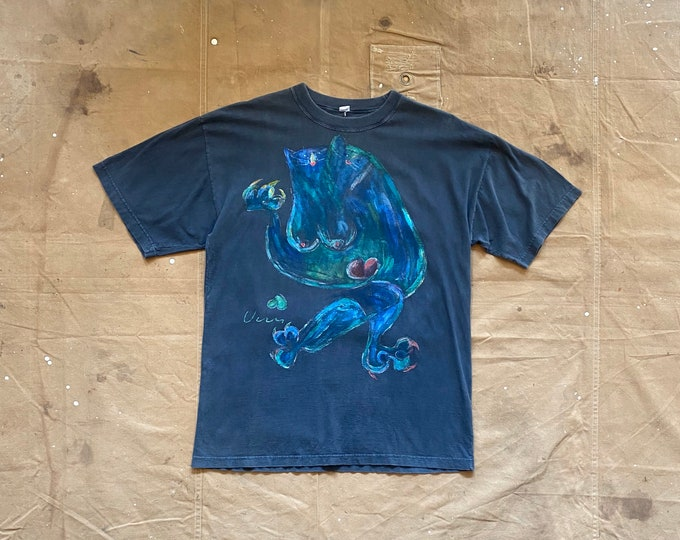 Abstract Illustration T-shirt Hand Drawn Cat Painting