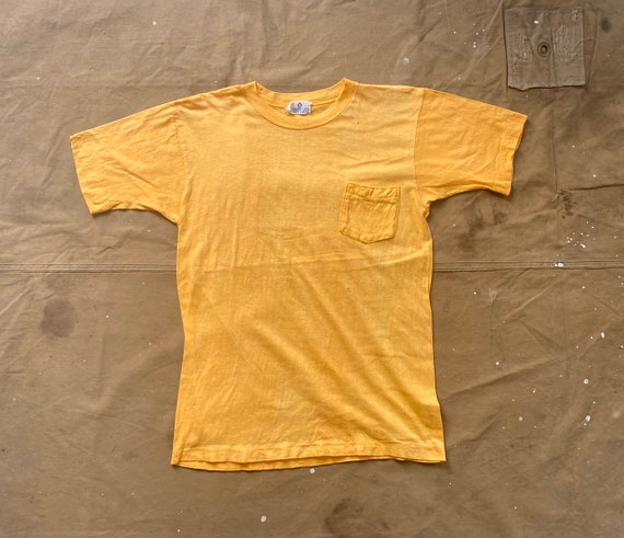 70s Pocket tee 100 Cotton Yellow
