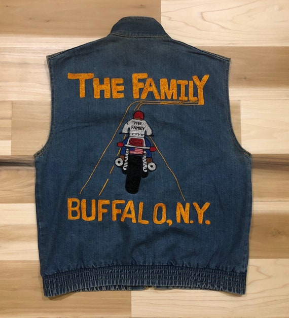 Chainstitch Motorcycle Club Vest Denim Biker Jean Jacket Buffalo NY