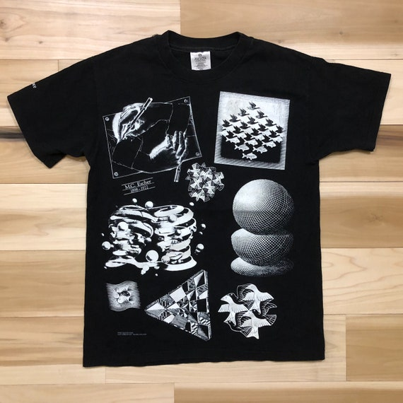 90s MC Escher T Shirt Surrealism Illusion Tee Andazia Tag