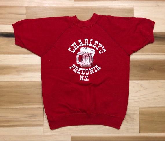 Charlies Bar Fredonia NY 70s Velva Sheen Short Sleeve Sweatshirt