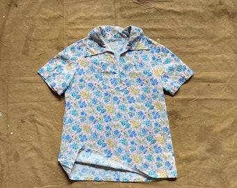 40s Handmade Floral Shirt Prairie blouse