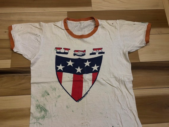 USA 1970s Bicentennial Ringer tee paint splatter