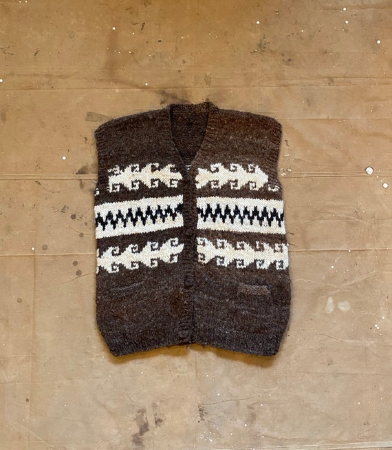 Hand Knit Wool Sweater Vest - image 1