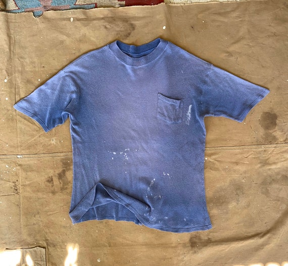 Faded Pocket tee distressed Blue