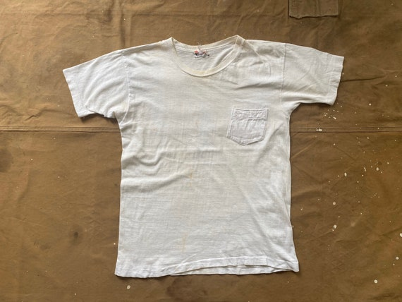 70s Pocket tee White Distressed