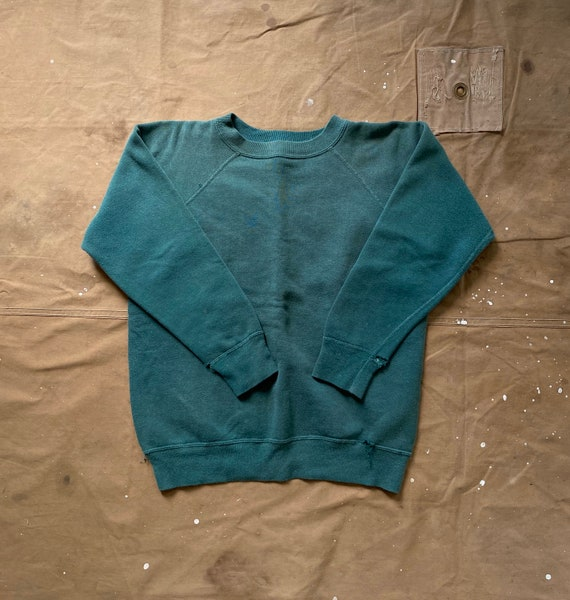 1970s Faded Sweatshirt Green Distressed