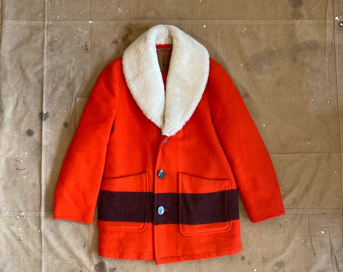 Woolrich Wool Coat Shearling Shawl Collar Stripe
