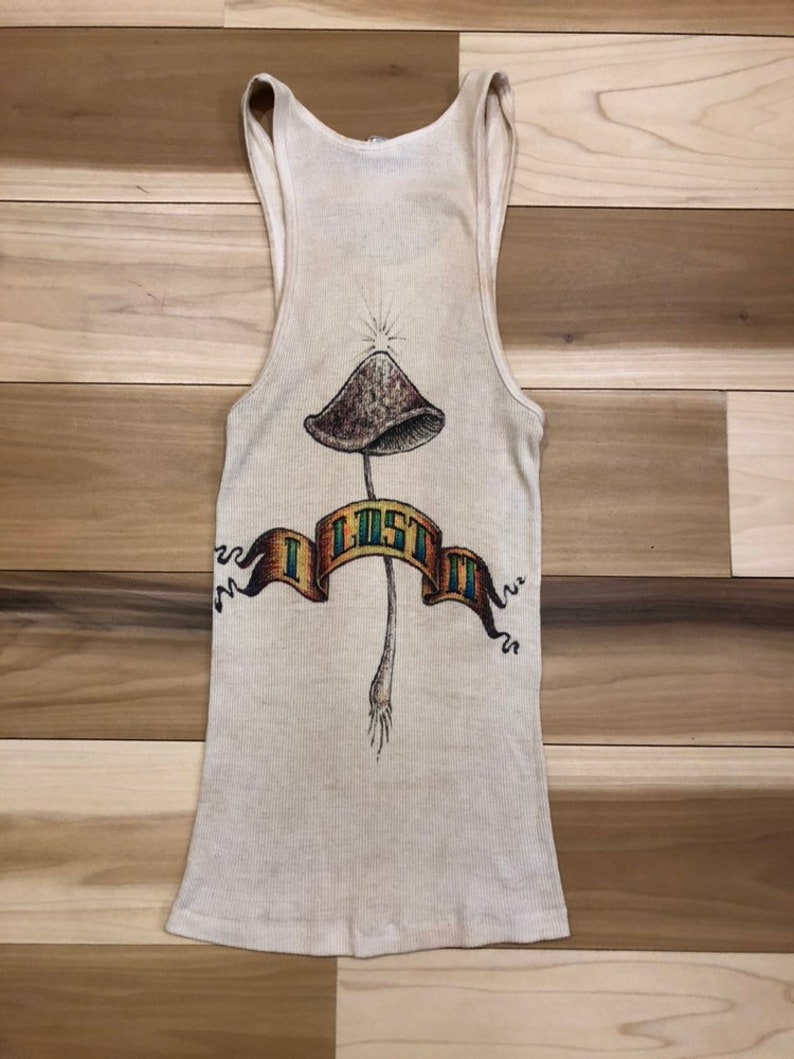 I lost It 1970s Airbrush Tank Top Shrooms bad Trip