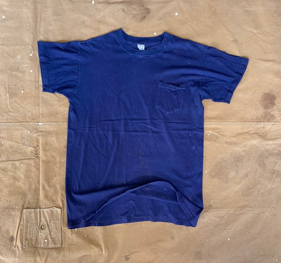 1960s / 70s Pocket tee Grants All cotton Blue