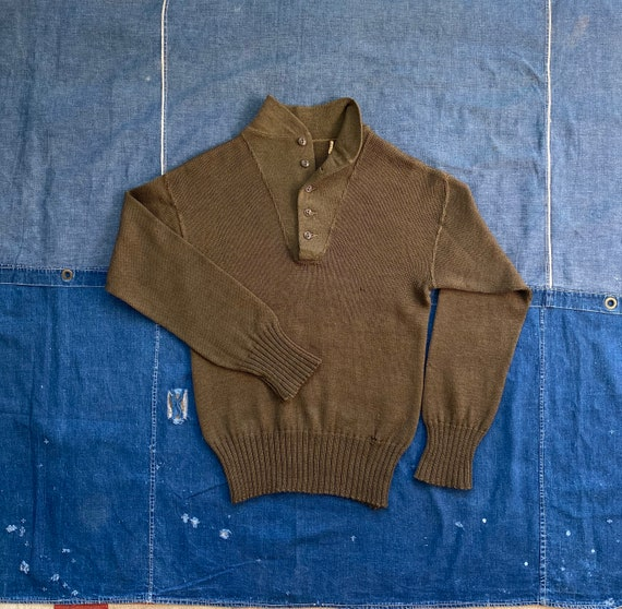 40s Wool Sweater High Neck  WWII