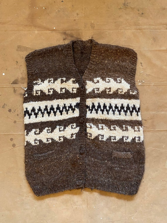 Hand Knit Wool Sweater Vest - image 3