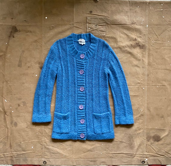 60s Mohair Cardigan Sweater Hand Loomed Hairy