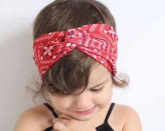 Baby Turban Headband, Baby Head Wrap, Toddler Turban, Turband, Women's Headband, Headwrap // Red Bandana Twist Turban, TT-REDBANDANA