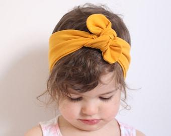 Mustard Baby Knot Headband, Baby Turban Headband, Baby Head Wrap, Tie eadwrap, Yellow, Fall // Mustard Yellow Knotted Headband, KH-MUSTARD