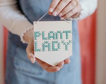 Mini Cross Stitch Embroidery Board Kit 'Plant Lady'