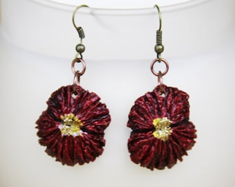 Red Flower Earrings made from Black Walnut Shells, poinsettia or red carnation, chose hook, post or clip on styles