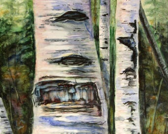 Birch tree watercolor, Elder Birch by Kristine Plum, painted on canvas