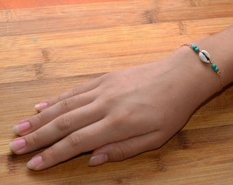 Jewelry Bracelet Beach jewelry Shell bracelet  Turquoise bracelet Gold filled chain bracelet