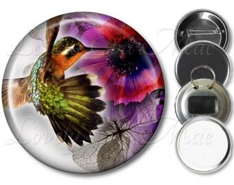 Pocket Mirror, Magnet, Bottle Opener Key Ring, Pin Back Button, Hummingbird