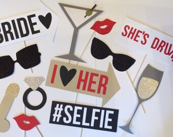 Bachelorette Party Photo Booth Props (12 pieces)