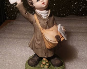 Vintage Hand Painted Special Delivery Boy Figurine